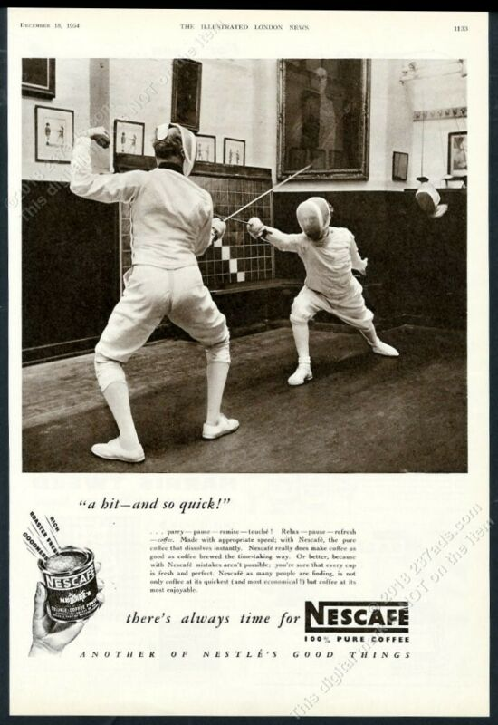 1954 fencing match fencer photo Nescafe coffee UK vintage print ad