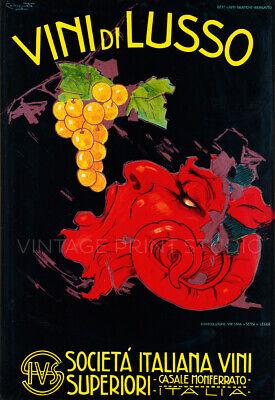Italian Wine Vini di Lusso 1920 Art Deco Advertising Giclee Canvas Print 20X29