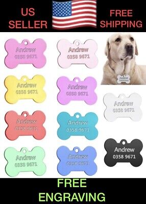 Custom Engraved Dog Tag Pet Bone ID Identification USA Double Sided Personalized