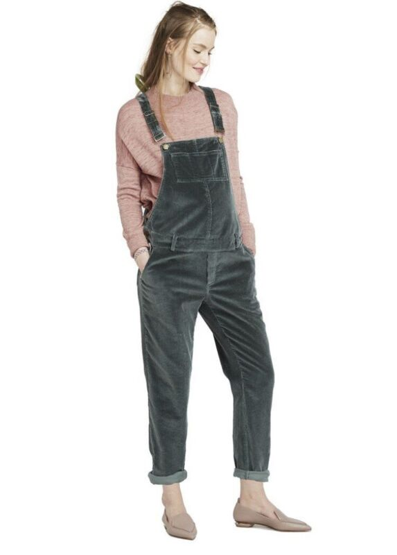 Hatch Maternity Women's THE CORD OVERALL Pine Size 0 (XS/0-2) NEW