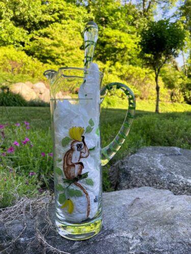 """LYNN CHASE 11"""" Glass Monkey Martini Tea Pitcher & Stir stick"""