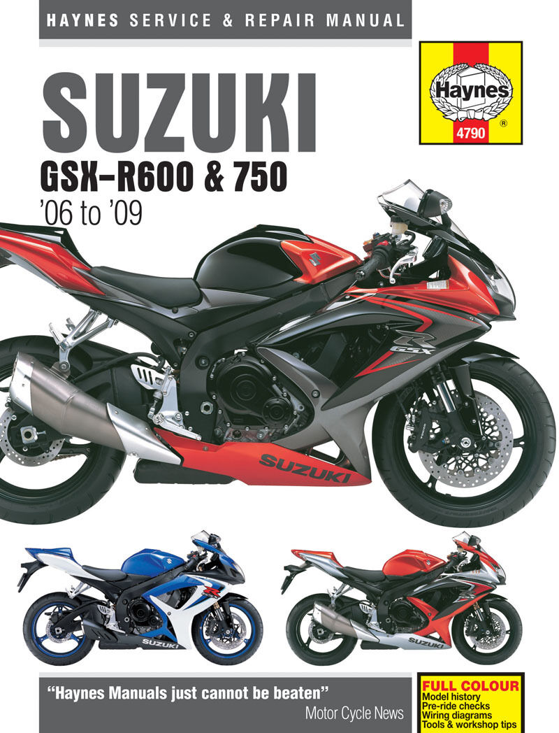HAYNES 4790 MOTORCYCLE SERVICE REPAIR MANUAL SUZUKI GSX-R600 GSX-R750 2006 - 09