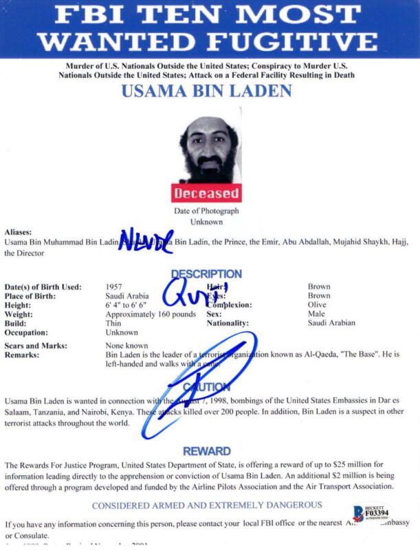 ROBERT O'NEILL SIGNED 8.5X11 PHOTO BIN LADEN SHOOTER FBI MOST WANTED AUTOGRAPH