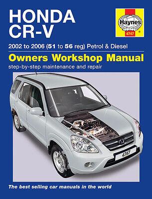 Honda CR-V 2.0 Petrol 2.2 Diesel 2002-06 (51 to 56 Reg) Haynes Manual 4747