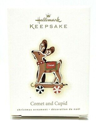 RARE NEW 2009 HALLMARK COMET AND CUPID GINGERBREAD REINDEER CHRISTMAS ORNAMENT