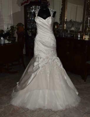 ENZOANI BLUE Bridal Gown Wedding Dress Size 10 Ivory Mermaid REF: BG1116