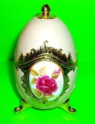 Pink Decorative Egg Japanese Art Vtg Decoration Opens Trinket Case Home Decor