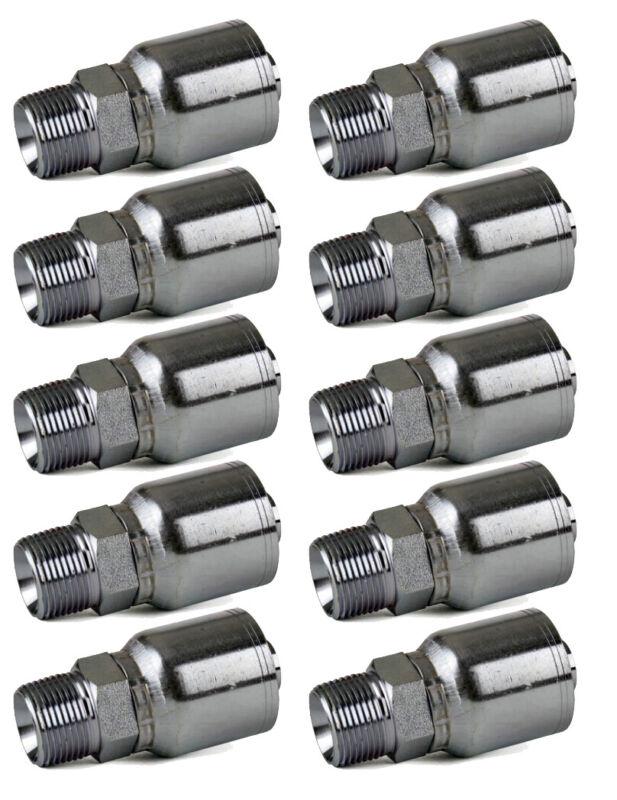 "10 Pack MP-06-06 –3/8"" Hose x 3/8"" NPTF Male Pipe Rigid Hydraulic Hose Fitting"