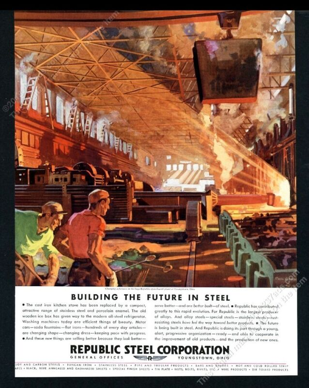 1934 Republic Steel plant blast furnace Paul Gerding art BIG vintage print ad