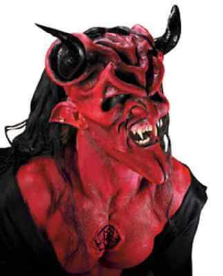 Dark Lord Red Devil Satan Fancy Dress Halloween Costume Makeup Latex Prosthetic ()