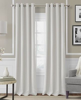 - 2 PANELS WHITE LINED THERMAL BLACKOUT GROMMET WINDOW CURTAIN 55