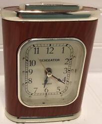Generation Small Quartz Desk Alarm Clock Wood Look With Gold Trim 1 AA Battery