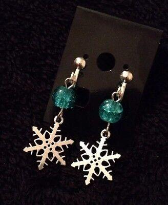 Frozen Clip On Earrings Snow Flake Blue Glitter Beads Kids Elsa Earrings Olaf ()