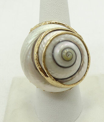 Stunning 14K Yellow Gold Large Baroque Pearl Snail Shell Ring Sz7.75 A2457
