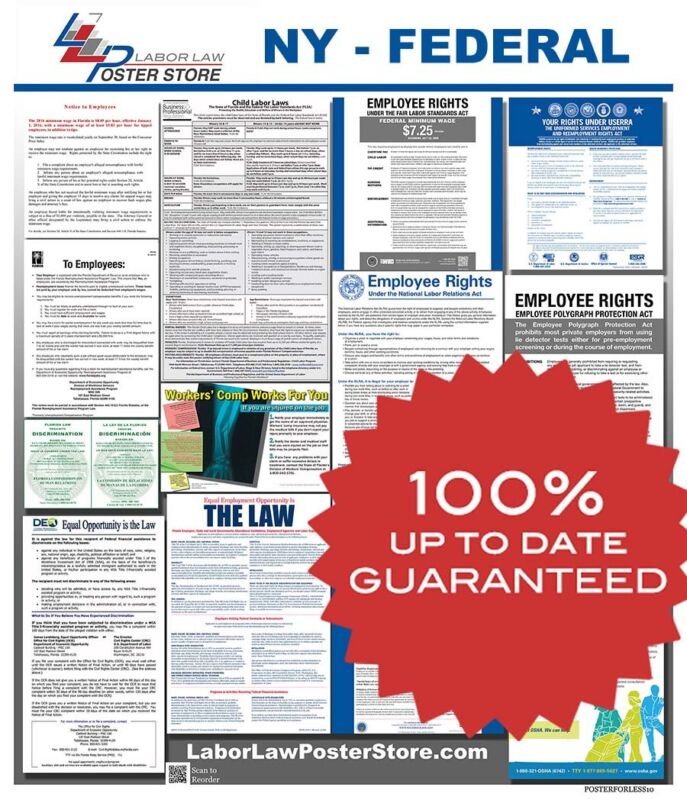 2021 New York NY State & Federal all in 1 LABOR LAW POSTER workplace compliance
