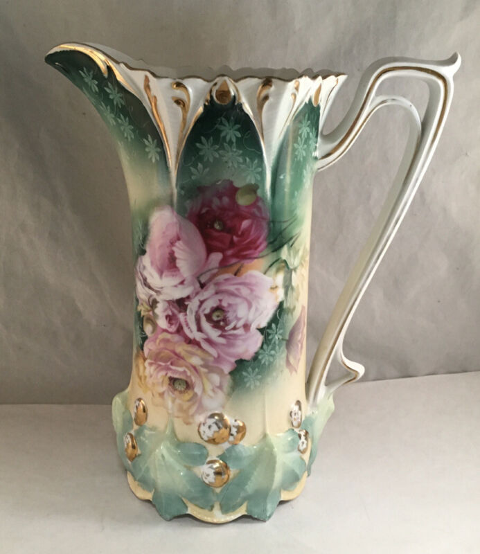 ANTIQUE RS PRUSSIA PORCELAIN TANKARD PITCHER ACORN MOLD PINK POPPIES GREEN TINT