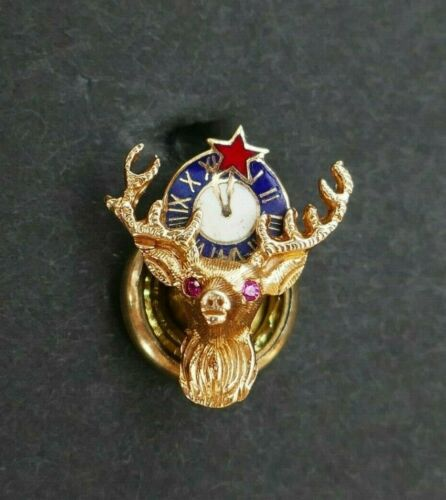 Vintage 14K Yellow Gold Elks Club Pin with Enamel and Stone Eyes
