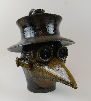 "Folk Art Pottery Face Jug ""Plague Doctor"" by Vonderhey"