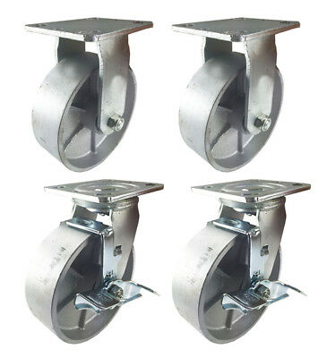 4 Heavy Duty Caster Set 4 5 6 All Steel Wheels Rigid Swivel And Brake