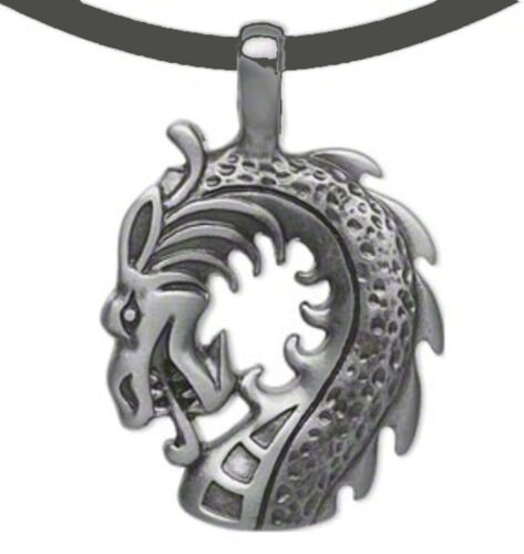 """Dragon Necklace Pendant on 18"""" Black Leather Cord Jewelry"""