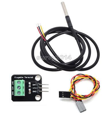 Ds18b20 Temperature Sensor Probe Waterproof Plugable Terminal Adapter Module