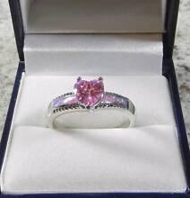 PINK FIRE OPAL INLAY & PINK TOPAZ STERLING SILVER RING 9/R3/4. Rothwell Redcliffe Area Preview
