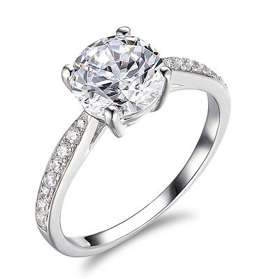 2 Ct Round Cut Solitaire Engagement Wedding Promise Ring Solid 14K White Gold 1