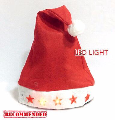 Flashing Christmas Hats (Adult Lady Child Christmas XMAS Santa LEY light up flashing Costume Red Hat)