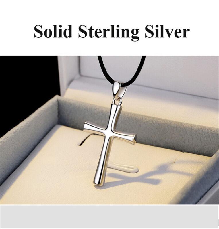 S925 cross women/'s men/'s necklace simple solid sterling silver girl boy pendant