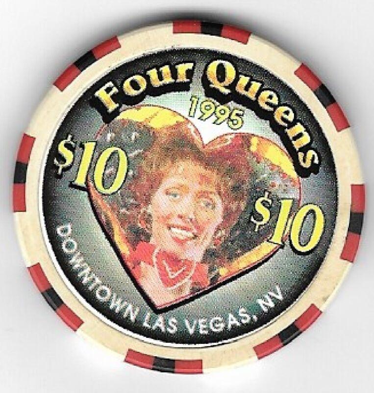 Four Queens Hotel $10.00 Showgirl Heart Casino Chip Las Vegas Nevada