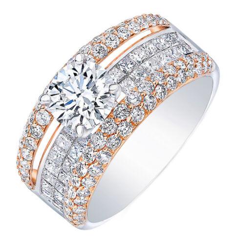 18k Rose and White Gold GIA Certified Diamond Engagement Ring 3.70 carat Roun...