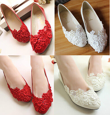 NEW Women's Flats Wedding Lace Pearl Shoes Red White Bride Bridesmaid Shoes