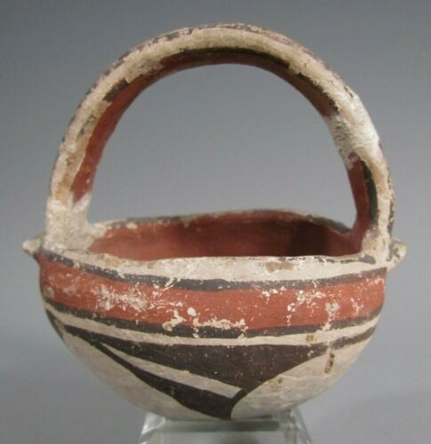 Acoma New Mexico Polychrome Pottery Handled basket Shaped Vessel ca. 19th c.