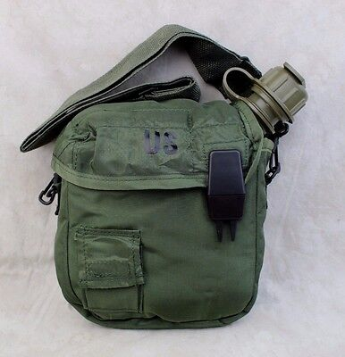 NEW GENUINE US ARMY ISSUE 2 QT COLLAPSIBLE CANTEEN W/ COVER & SLING - OD GREEN