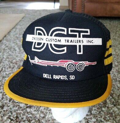 Vtg 1980s DRESSEN TRAILER 3 Stripe Mesh Cap Snapback Trucker Hat USA Black Gold