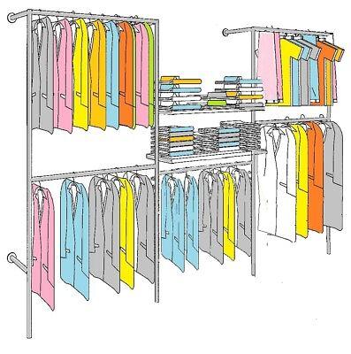 7 Etagen Kleiderständer Wandregal Ankleiderzimmer Kleiderstange Garderobe W.15
