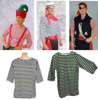 ADULT MENS GONDOLIER SAILOR PIRATE PIERROT CLOWN MIME ELF COSTUME STRIPED SHIRT  - Mimes Costumes