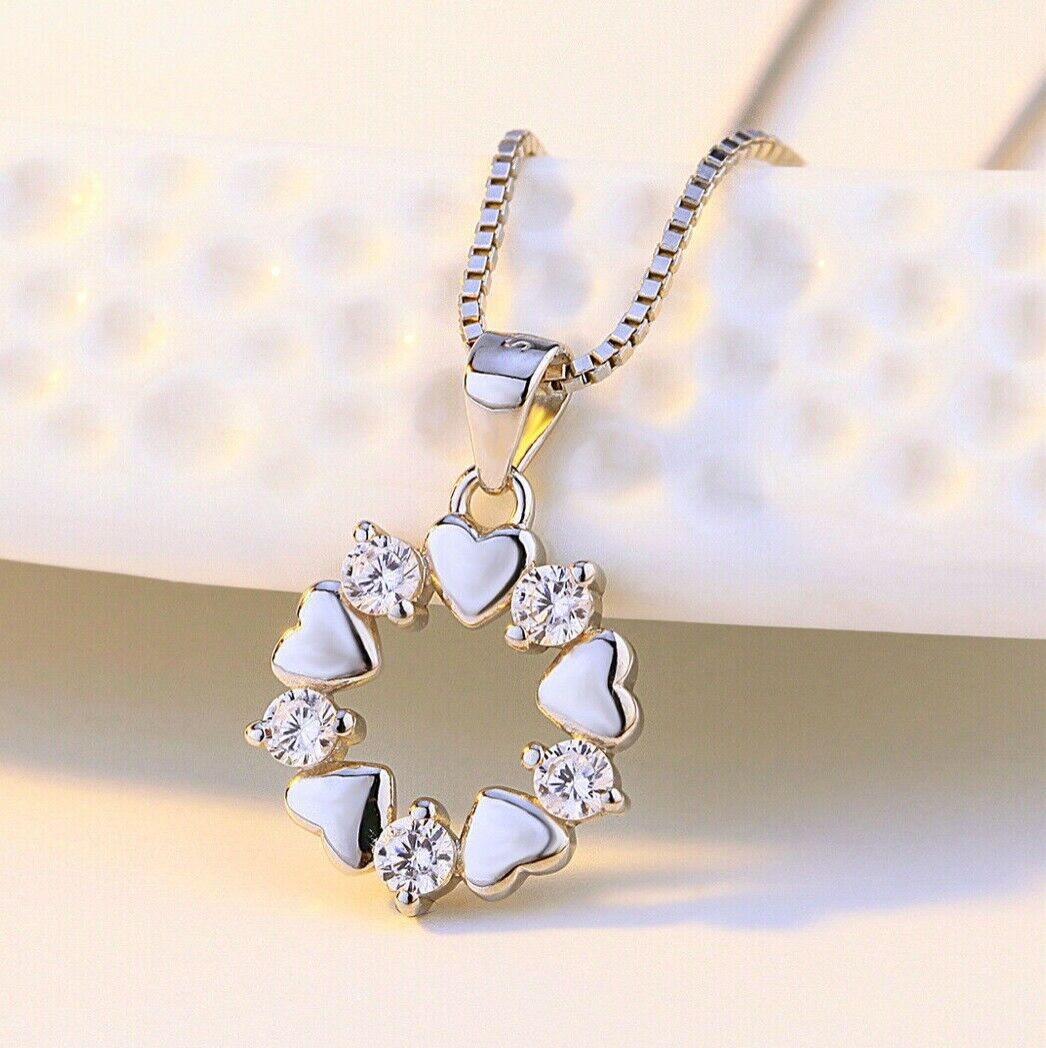Jewellery - Crystal Stone Heart Pendant Chain Necklace 925 Sterling Silver Womens Jewellery