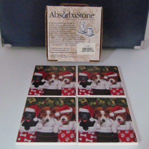 Christmas coasters set of 4 PUPPIES
