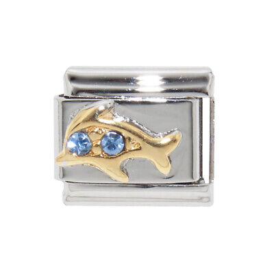 Dolphin blue stones enamel Italian Charm - fits 9mm Classic bracelets