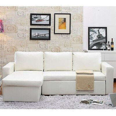 The-HOM Georgetown Bi-Stamp Leather 2-Pieces Sectional Sofa Bed with Storage New