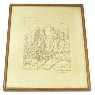 Conway Conwy Castle Wales - Vintage Antique Stitched Picture Sewing Needlework