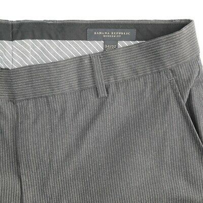 Banana Republic Modern Fit Flat Front Gray Pinstripe Cotton Dress Pants - Banana Republic Dress Pants