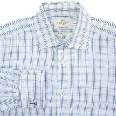Hawes Curtis Spread Collar French Cuff White Blue Check Dress Shirt 16 - 32