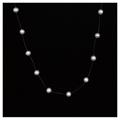 White Freshwater Pearl Illusion Necklace Single -