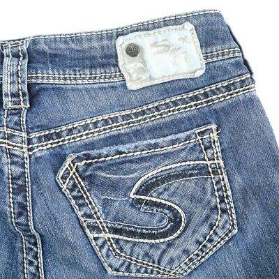 Silver Suki Distressed Dark Wash Straight Leg Denim Jeans Womens 28 Hemmed 28x27 Dark Wash Straight Leg Jean