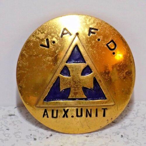 V.A.F.D AUXILIARY AUX. UNIT FIRE DEPARTMENT OFFICER BADGE RARE VINTAGE