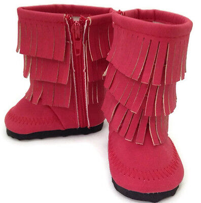 Red Fringed Boot Shoes made for 18