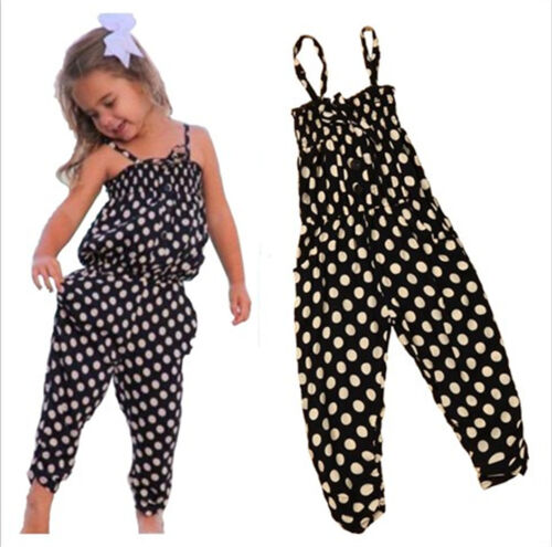 WEUIE Cute Summer Jumpsuits for Baby Girls Toddler Kids Backless Harem Strap Romper Jumpsuit Toddler Pants 12M-6T