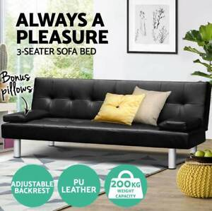 3 Seater Sofa Bed PU Leather Recliner Lounge Pillow Futon Couch